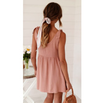 Casual A-Line Tied Straps Short Dress