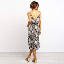 Casual Leopard Straps Long Dress