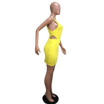 Yellow Cut Out Sleeveless Bodycon Dress
