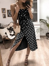 Casual Straps Polka Long Wrap Dress