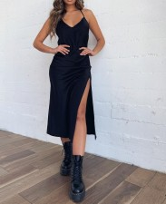 Sexy Plain Halter Long Slit Dress