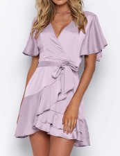 Casual Short Sleeves Ruffles Wrap Dress