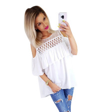 White Hollow Out O-Neck Layer Shirt