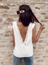 White V-Neck Tank with Lace Neckline