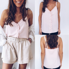 Pink Straps Vest with Ruffle Trim