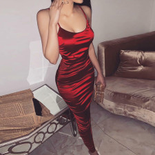 Red Straps Long Silk Party Dress