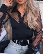Black Polka Mesh Blouse with Sleeves