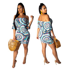 Off Shoulder Print Colorful Bodycon Dress