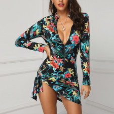 Floral Black Casual Zipped Dress