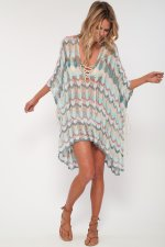 Colorful Wavy Plung Cover Ups