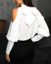 White Elegant Blouse with Cut Out Shoulders
