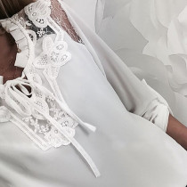 White Lace Detailed Blouse with Sleeves