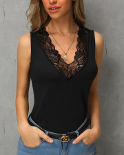 Black V-Neck Sleeveless Shirt with Lace Neckline