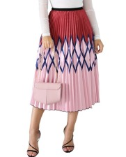 Print Pleated Maxi Skirt