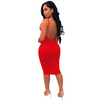 Sexy Backless Straps Bodycon Dress