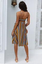 Colorful Stripped Straps Skater Dress