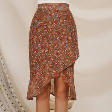 Vintage Flower Wrapped Long Skirt