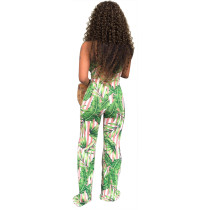 Print Green Sleeveless Wrap Jumpsuit