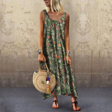Sleeveless Print Boho Maxi Dress