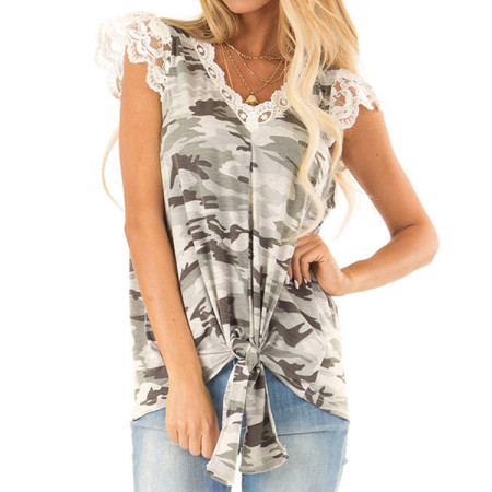 V-Neck Camou Shirt with Lace Trim