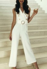 White Elegant Sleeveless Wrap Jumpsuit with Belt