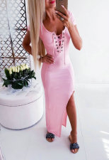 O-Neck Lace Up Slit Long Dress
