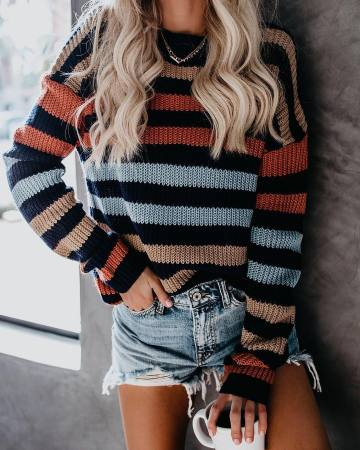Colorful Stripped O-Neck Pullover Sweater