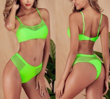 Green Hollow Out Straps Swimwear