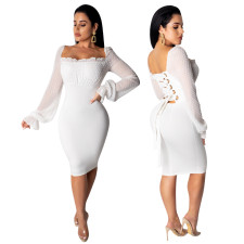 White Lace Up Sexy Party Dress with Mesh Sleeves