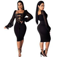 Black Lace Up Sexy Party Dress with Mesh Sleeves