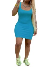 Plain Color Sexy Curvy Tank Dress