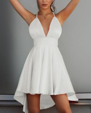 High Low Straps V-Neck Party Dress