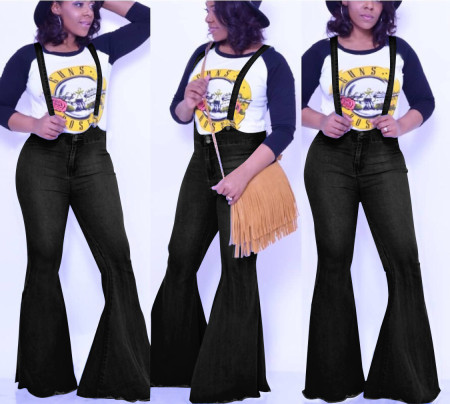 Stylish High Waist Bell Bib Jeans