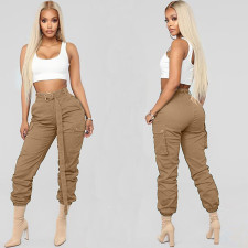 High Waist Workout Pocket Trousers with Belt