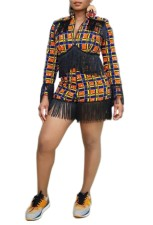 Multi-Color Plaid Tassels Jacket and Shorts
