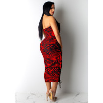 Sexy Lace Up Strapless Zebra Midi Dress