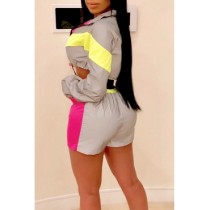 Sports Contrast Crop Top and Shorts Tracksuit