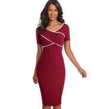 Red V-Neck Midi Dress with Contrast Trim