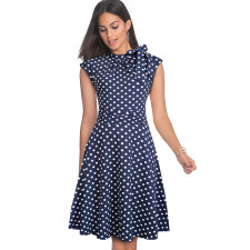 A-line White and Blue Polka Vintage Dress