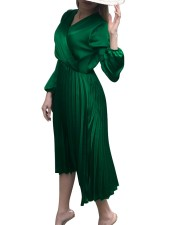 Elegant Pleated Wrap A-line Midi Dress