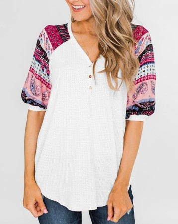 V-Neck Basic Shirt with Print Sleeves