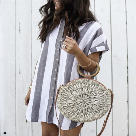 Wide Stripped Loose Blouse with Short Sleeves