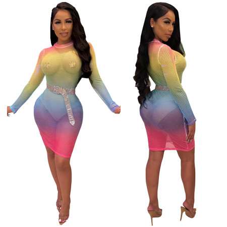 Sexy Colorful Fishnet Bodycon Dress