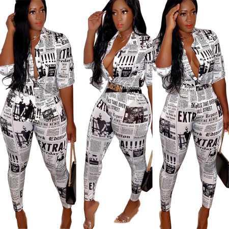 Print Newsletter Bodycon Jumpsuit