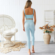 Pure Blue Yoga Bra and Leggings