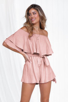 Off Shoulder Pure Rompers with Belt