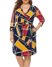 Plus Size Colorful Wrap Dress with Belt