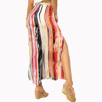 Colorful Stripes Slit Trousers