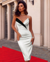Sexy Strapless Midi Party Dress