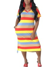 Colorful Stripes V-Neck Long Shirt Dress